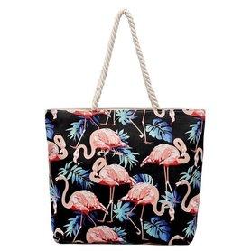Torba materiałowa zamek TP04WZ1 czerń flamingi