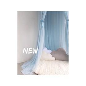 Baldachim do łóżeczka tiulowy, duży, gęsty blue
