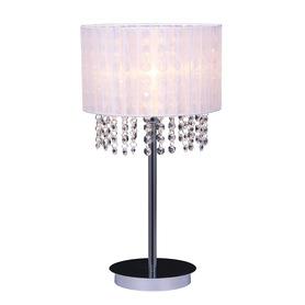 Lampa nocna stołowa kryształki Biała ASTRA
