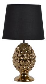 LAMPKA nocna ceramiczna złota czarny abażur 44,5cm