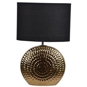 LAMPKA nocna ceramiczna złota czarny abażur 45,5cm