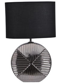 LAMPKA nocna ceramiczna srebrna czarny abażur 45,5cm