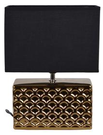 LAMPKA nocna ceramiczna złota czarny abażur 31cm