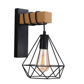Kinkiet lampa ścienna VIGO WOOD E27 czarny brązowy