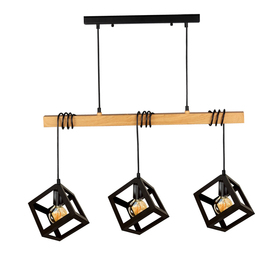 Lampa wisząca SWEDEN WOOD LOFT 3xE27 czarna