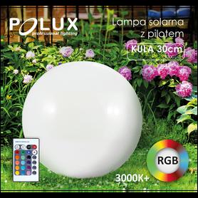 Lampa ogrodowa KULA Solarna 30 cm Polux RGB pilot